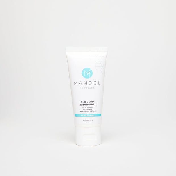 Mandel Skincare Face & Body Sunscreen Lotion SPF 30 Water-Resistant