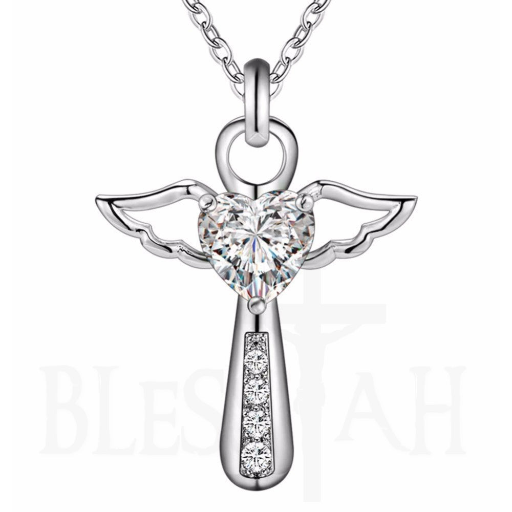 Women's Cross Angel Heart Wing Pendant with Box