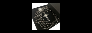 grey hematite rosary necklace cross pendant BL009