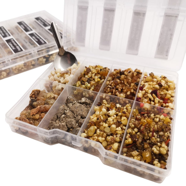 8 Sample Incense Church Resin kit in Plastic Box with Spoon | Prinknash or Blessiah  Blessiah Resin Blessiah