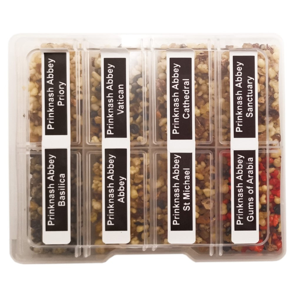 8 Sample Incense Church Resin kit in Plastic Box with Spoon | Prinknash or Blessiah Prinknash Abbey Blessiah Resin Blessiah