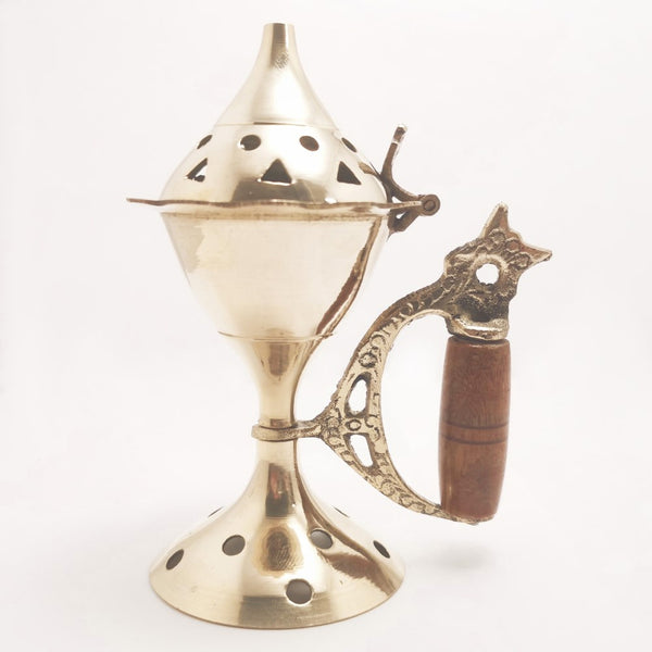 Brass Incense Cone Resin Burner with Wooden Handle and Lid 11cm  Ancient Wisdom Incense Resin Burner Blessiah