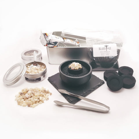 Complete Incense Resin Kit Set in a Tin with Cast Iron Resin Burner  Blessiah Incense Resin Kit Blessiah