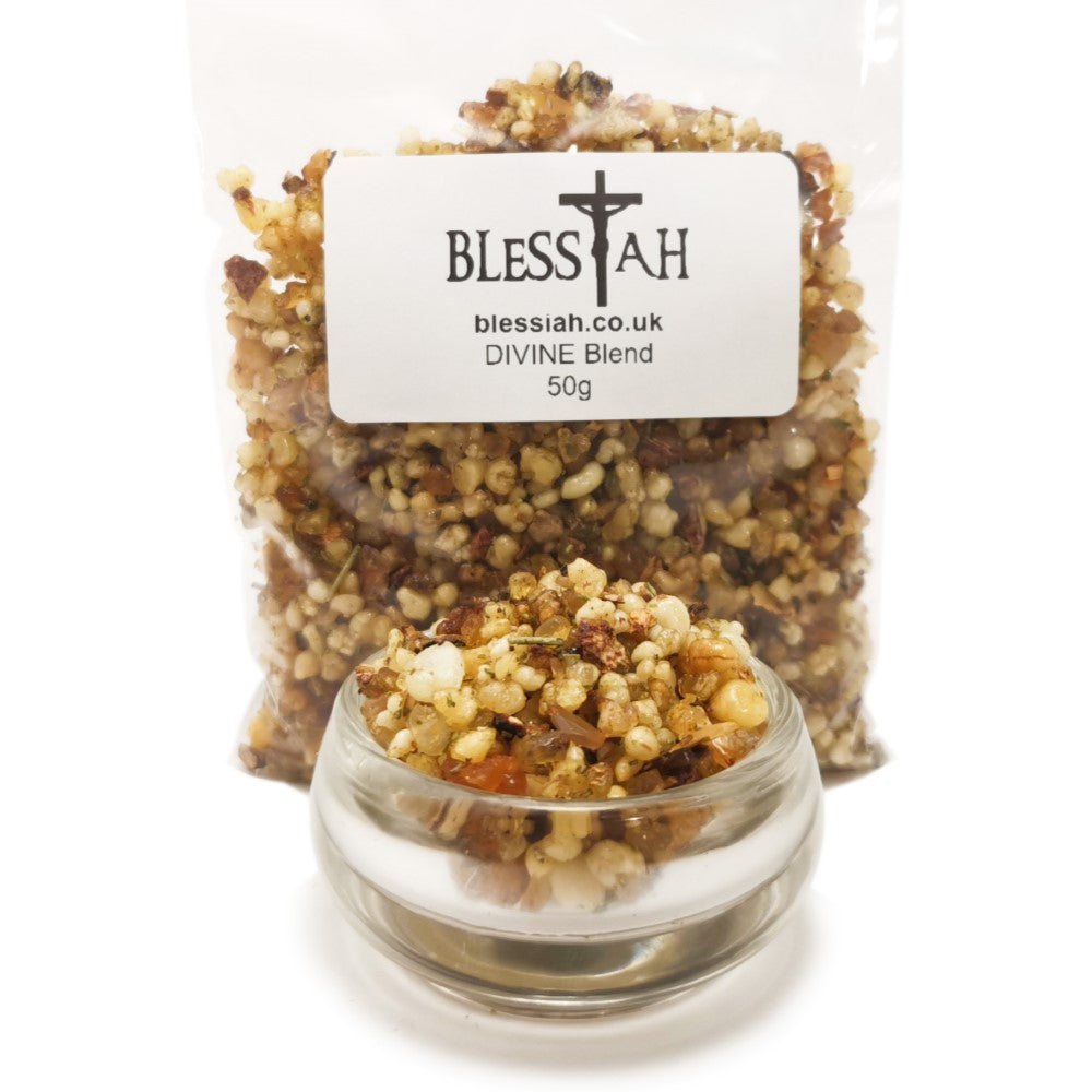 DIVINE Blend Incense Resin with Frankincense and Myrrh 50g  Blessiah Resin Blessiah
