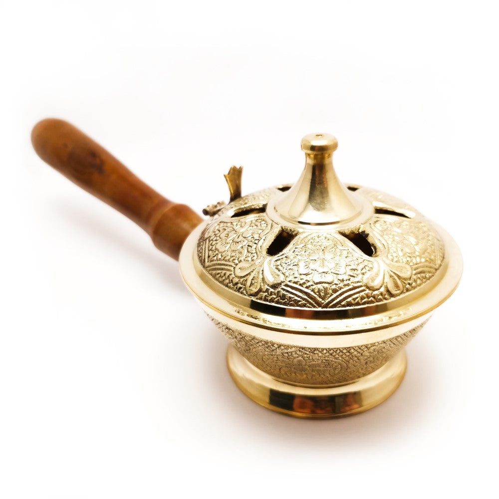 Decorated Brass Incense Resin Burner with Lid and Wooden Handle  Blessiah Incense Holders Blessiah
