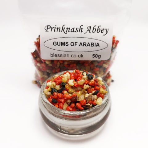 GUMS OF ARABIA Prinknash Abbey Incense Church Resin Granules for use with Charcoal 50g  Prinknash Incense Resin Blessiah