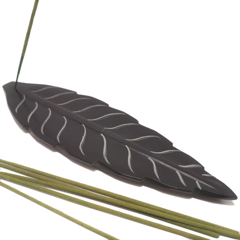 Hand-carved Polished Soapstone Incense stick Holder Burner Leaf-shaped