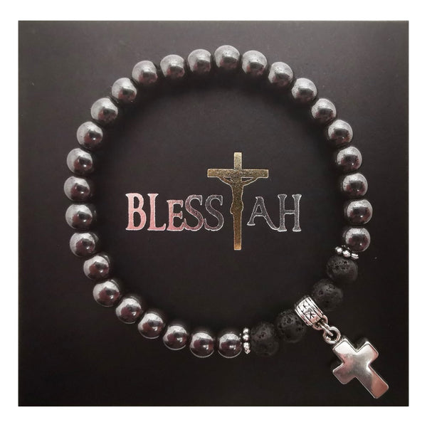 Hematite and Volcanic Lava Bead Stretch Bracelet with Cross Pendant Charm  Blessiah bracelet Blessiah