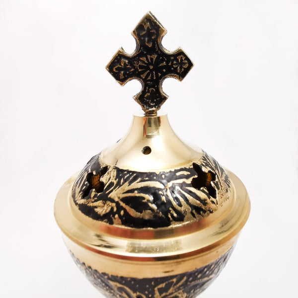 Incense Resin Brass Engraved Burner with Lid and Cross 16cm  Blessiah Incense Resin Burner Blessiah