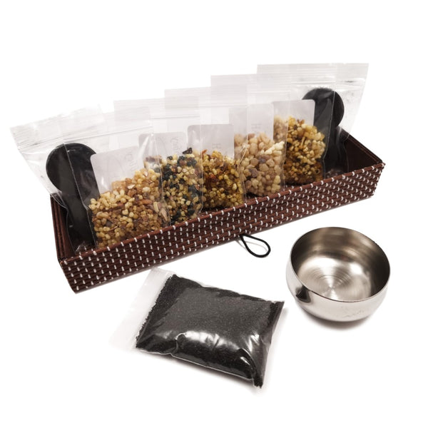 Incense Resin Kit Set in Bamboo Box with Stainless Steel Resin Burner  Blessiah Incense Resin Kit Blessiah