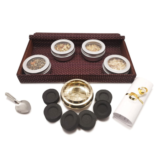 Incense Resin Kit Set in Bamboo Gift Box with Brass Resin Burner  Blessiah Incense Resin Kit Blessiah