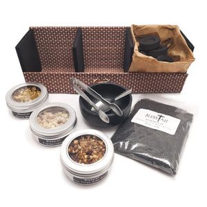 Incense Resin Kit Set in Bamboo Gift Box with Cast Iron Burner  Blessiah Incense Resin Kit Blessiah