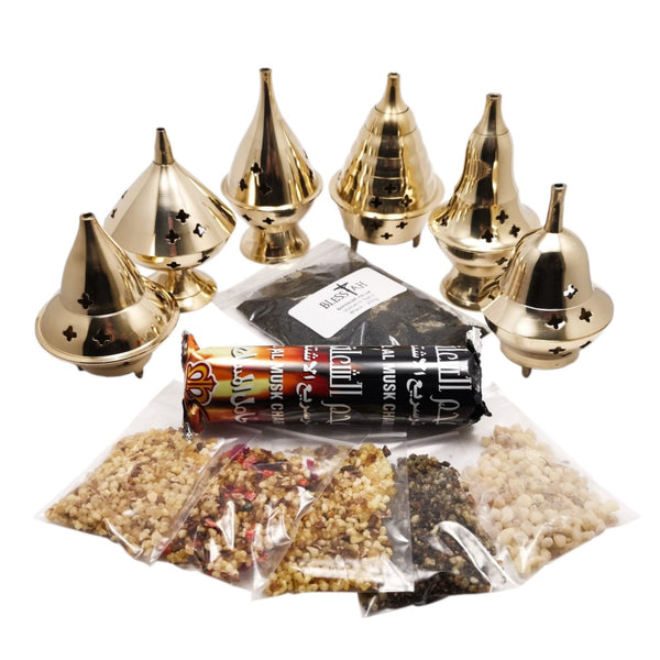 Incense Resin Kit Set with Brass Burner of your choice Charcoal and 5 Resins  Blessiah Incense Resin Burner Blessiah