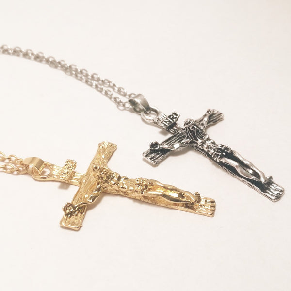 Men's Jesus Cross Crucifix INRI Stainless Steel Pendant with Box - Silver or Gold  Blessiah Pendant Blessiah