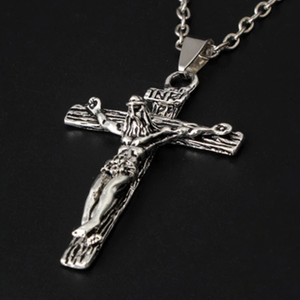 Men's Jesus Cross Crucifix INRI Stainless Steel Pendant with Box - Silver or Gold Silver Blessiah Pendant Blessiah