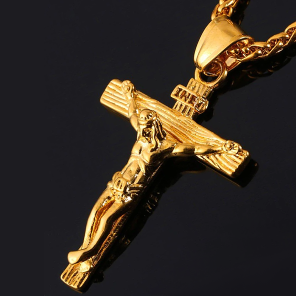 Men's Jesus Cross Crucifix INRI Stainless Steel Pendant with Box - Silver or Gold Gold Blessiah Pendant Blessiah