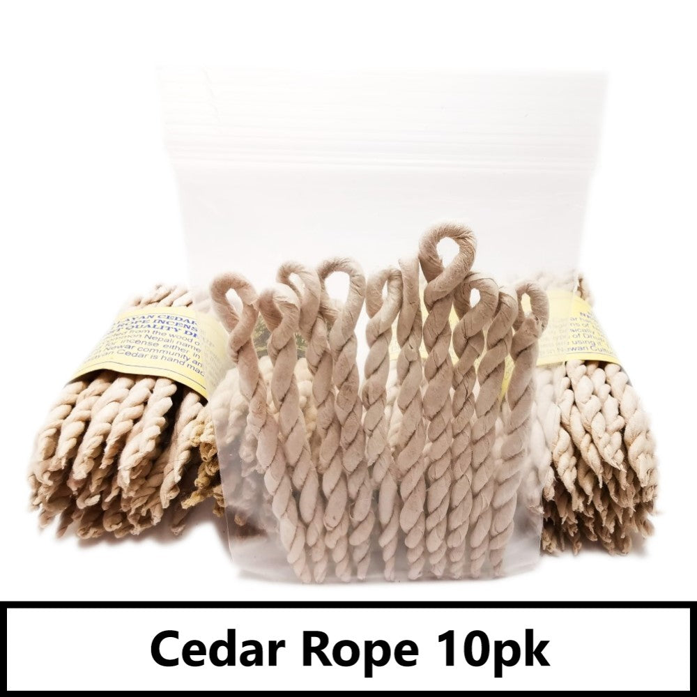 Nepali Incense Ropes 10 Pack | Cedar, Spikenard or Sandalwood Cedar Blessiah Incense Ropes Blessiah