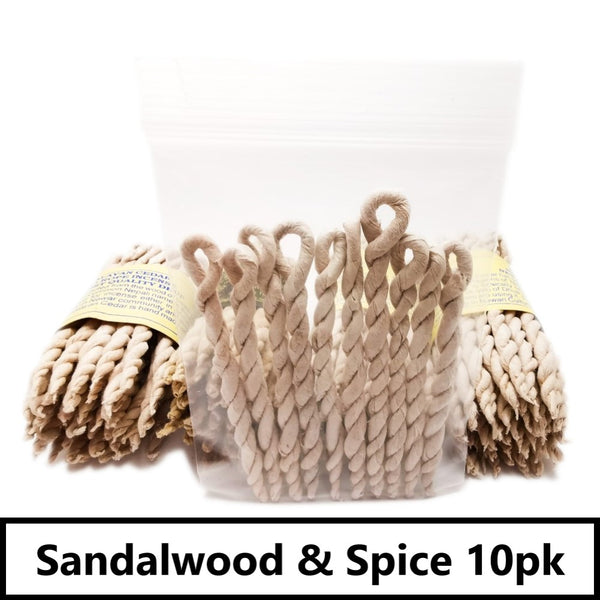 Nepali Incense Ropes 10 Pack | Cedar, Spikenard or Sandalwood Sandalwood & Spice Blessiah Incense Ropes Blessiah