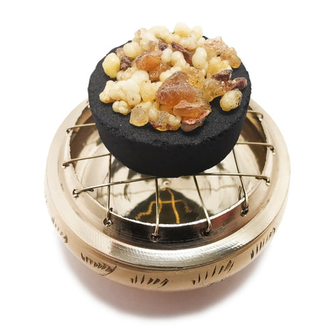 Polished Brass Incense Resin Burner with Mesh Lid 65 mm x 30 mm  Blessiah Incense Resin Burner Blessiah