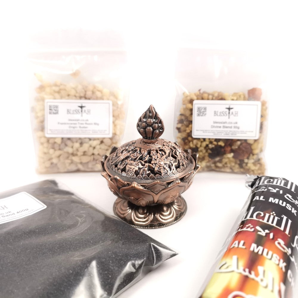 Incense Resin Kit Set with Lotus Flower Resin Burner, Charcoal, Sand, Frankincense, Divine Blend