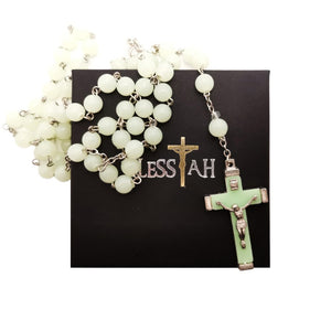 5 Decade Rosary Necklace Acrylic Beads Glow in the Dark with Box  Blessiah Rosary Blessiah