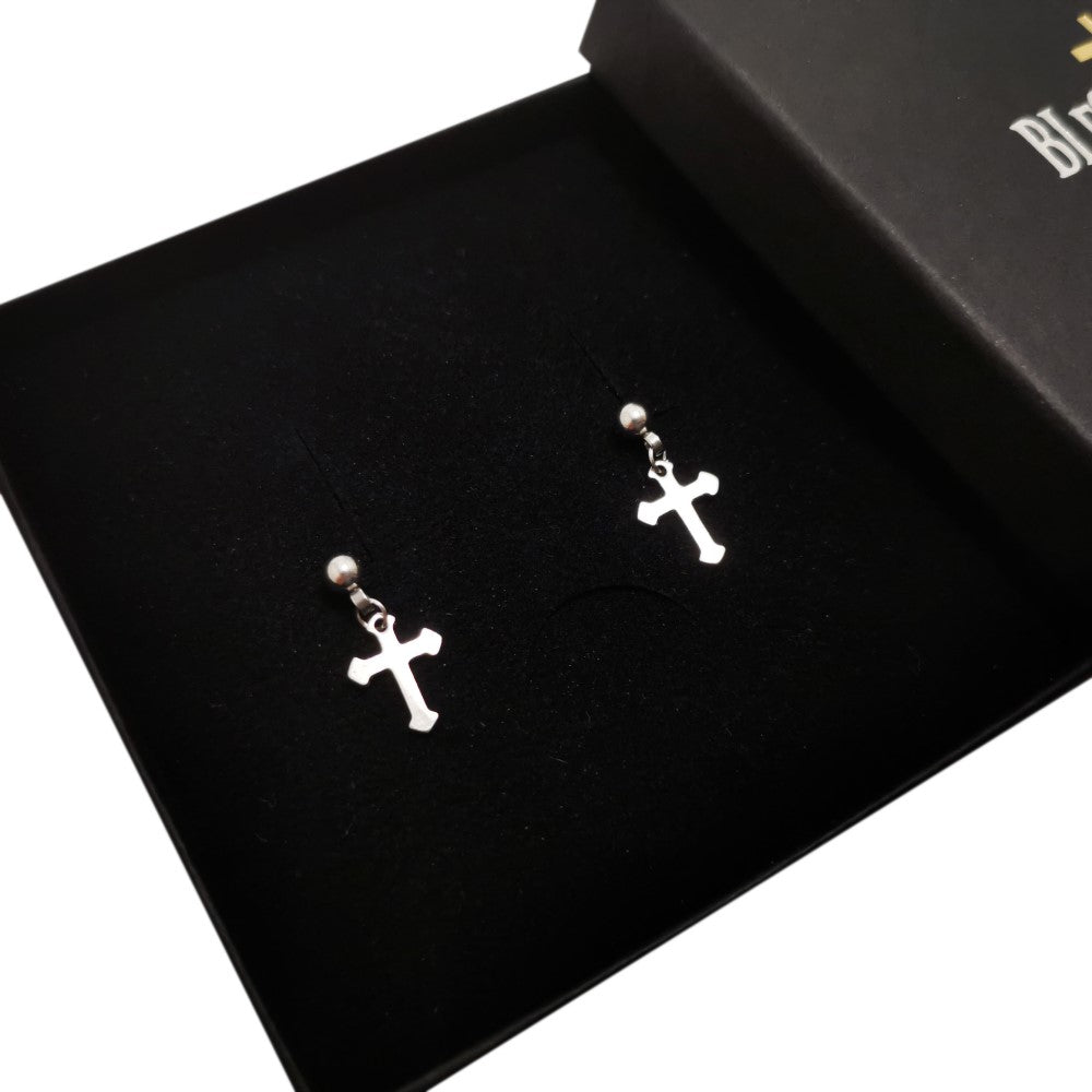 Small Stainless Steel Dangle Cross Earrings with Box  Blessiah Earrings Blessiah