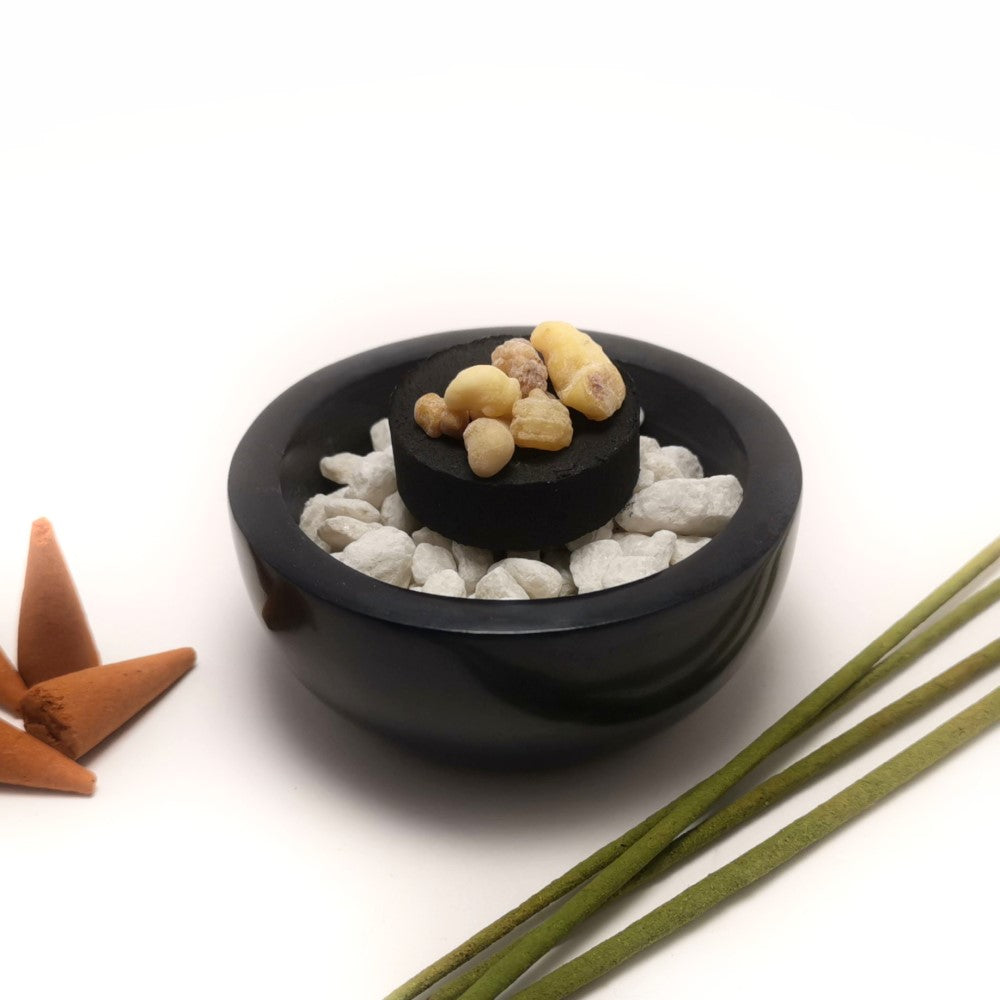 Soapstone Bowl Incense Holder Resin Charcoal Burner with White Stones