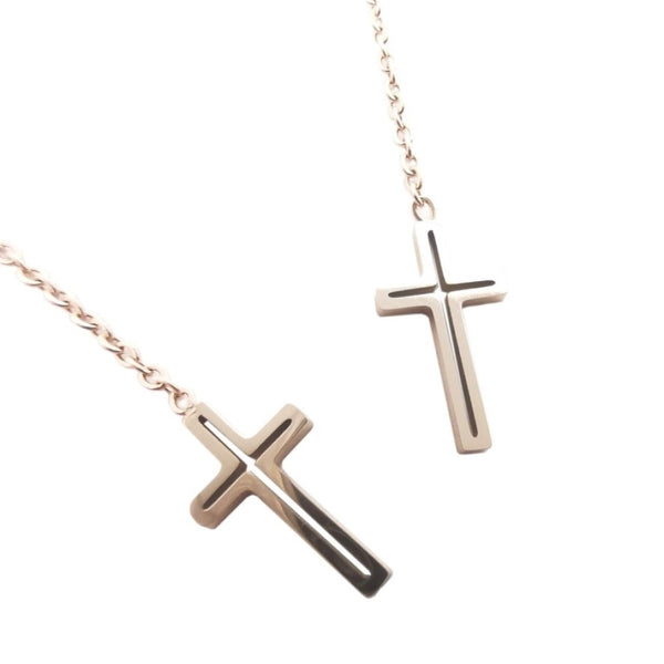 Stainless Steel Dangle Threader Cross earrings with Box  Blessiah Earrings Blessiah