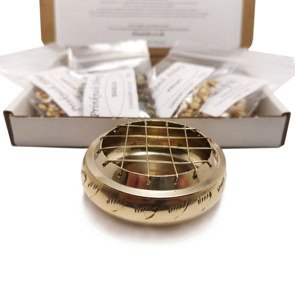 Starter Incense Resin Kit Set in a Box with Polished Brass Mesh Resin Burner and 4 resins  Blessiah Incense Resin Kit Blessiah