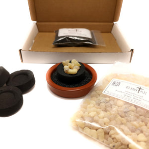 Starter Incense Resin Kit Set with Terracotta Resin Burner and 50g of Frankincense