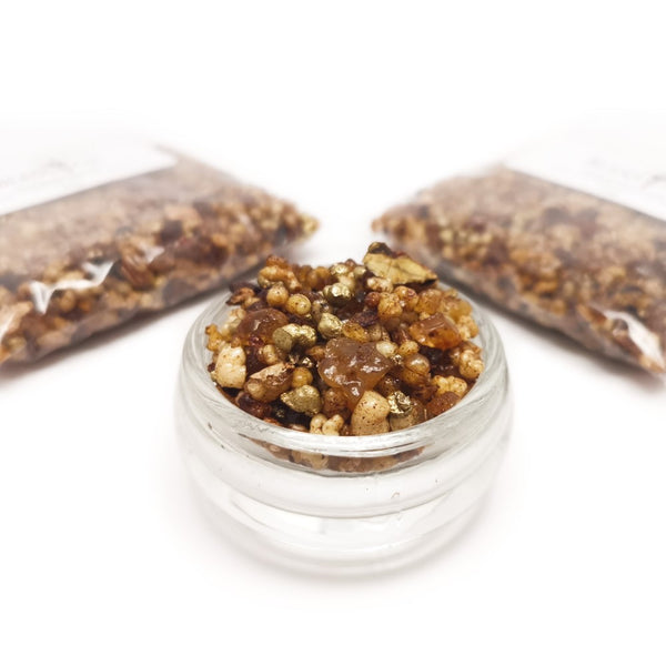 THE THREE GIFTS Blend Incense Resin with Gold Resin, Frankincense and Myrrh 50g  Blessiah Resin Blessiah