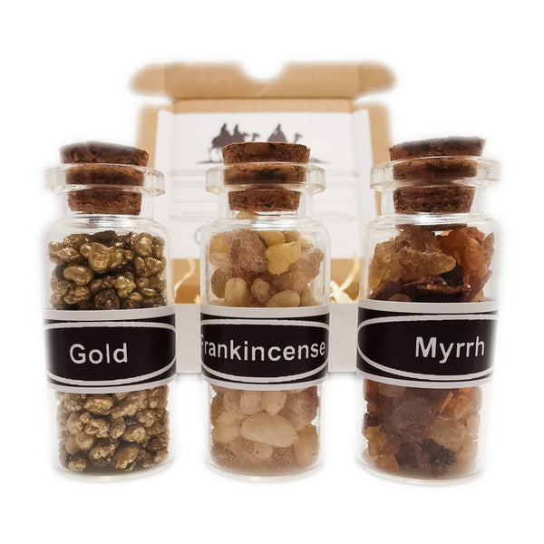 THREE WISE MEN Miniature Incense Resin Gift Set with Gold Frankincense Myrrh