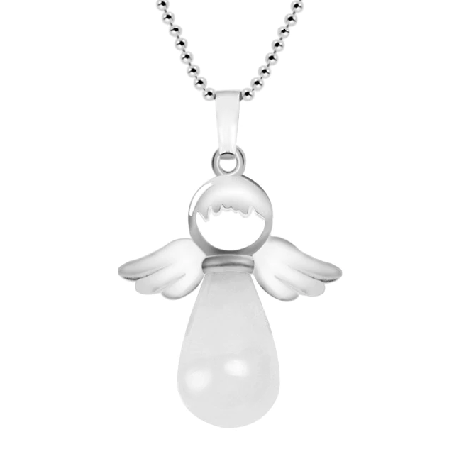 Women's Angel Wings Natural White Crystal Stone Necklace Pendant with Box  Blessiah Pendant Blessiah