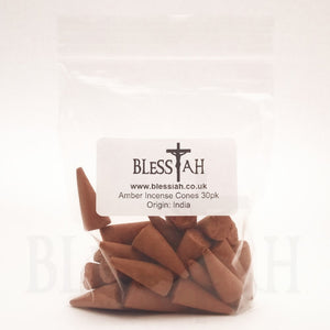 AMBER Indian Incense Cones High Quality 30pk  Blessiah Incense Cones Blessiah