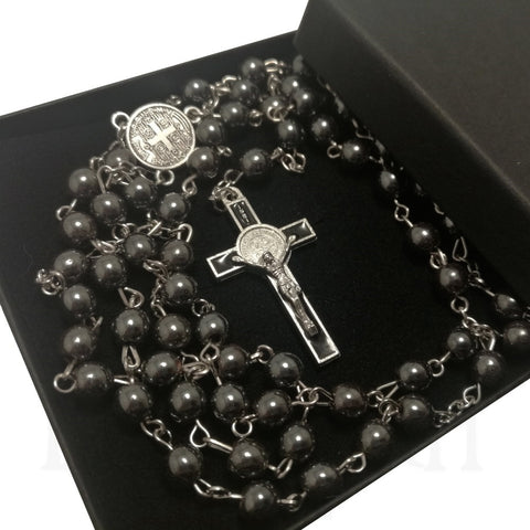 Grey Hematite Rosary Necklace Cross Pendant with Box  Blessiah Rosary Blessiah