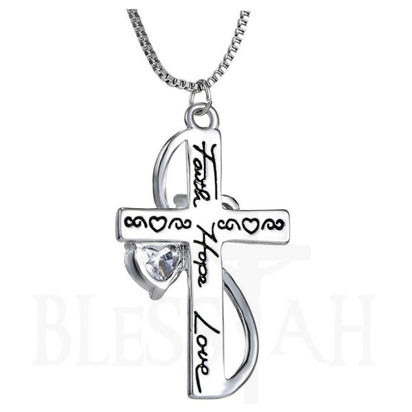 Women's Cross Crystal Heart Pendant Necklace Faith, Hope, Love with Box  Blessiah Pendant Blessiah