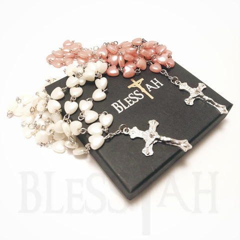 Heart Shaped Rosary Necklace with Fatima Madonna with Box  Blessiah Rosary Blessiah