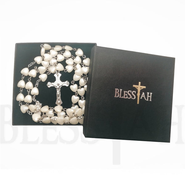 Heart Shaped 5 decade Rosary Necklace with Fatima Madonna with Box White Blessiah Rosary Blessiah