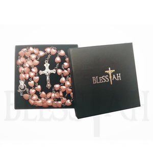 Heart Shaped 5 decade Rosary Necklace with Fatima Madonna with Box Pink Blessiah Rosary Blessiah