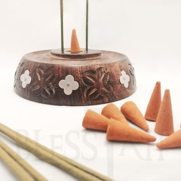 Handmade Mango Wood Incense Cone and Stick Holder / Burner  Ancient Wisdom Incense Holders Blessiah
