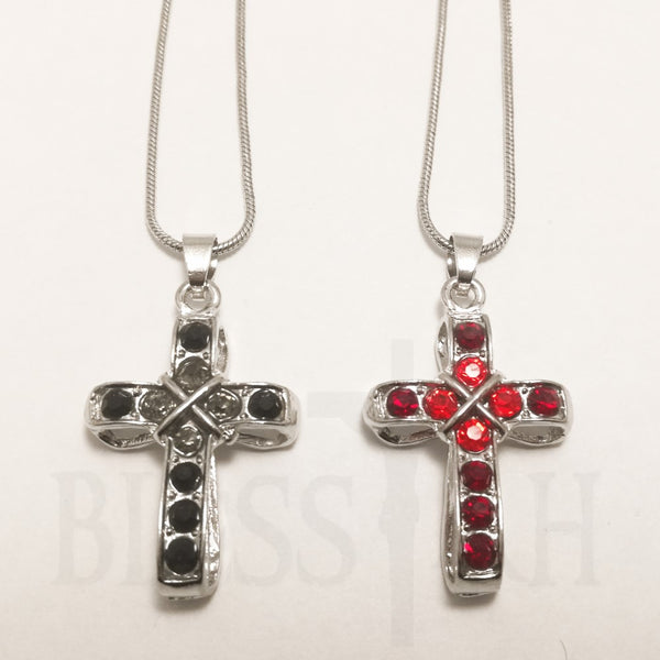 Metal Rhinestone Cross Pendant Snake Chain with Box - Black or Red  Blessiah Pendant Blessiah