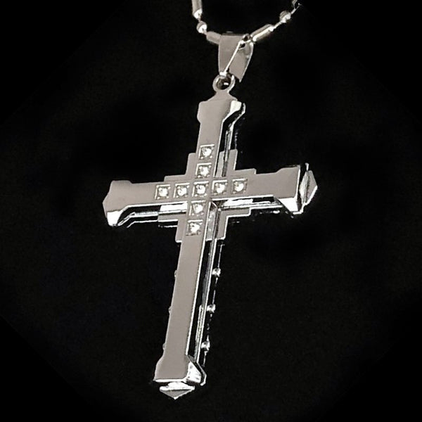 Men's Stainless Steel Cross Pendant with Box - silver, gold or black  Blessiah Pendant Blessiah