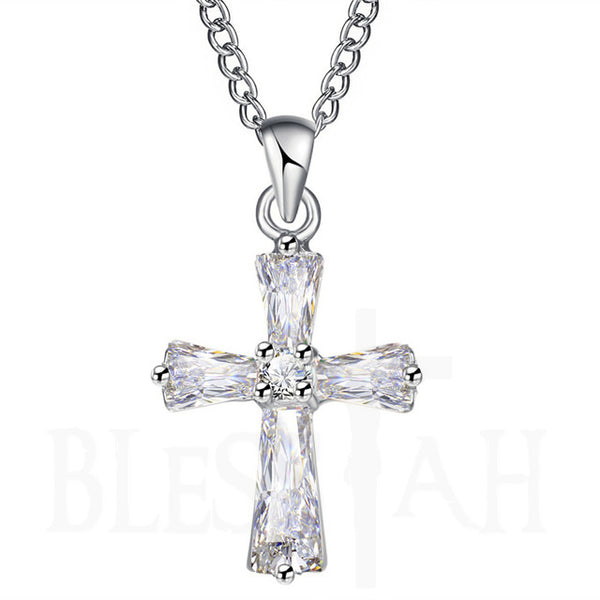Women's Small Cross Pendant Necklace with Box Silver Blessiah Pendant Blessiah