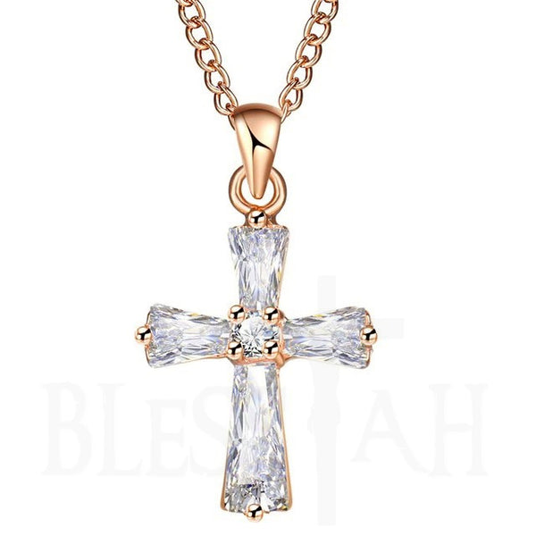 Women's Small Cross Pendant Necklace with Box Rose Gold Blessiah Pendant Blessiah