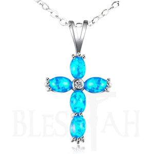 Women's Cross Pendant Necklace Blue Synthetic Fire Opal with Box  Blessiah Pendant Blessiah