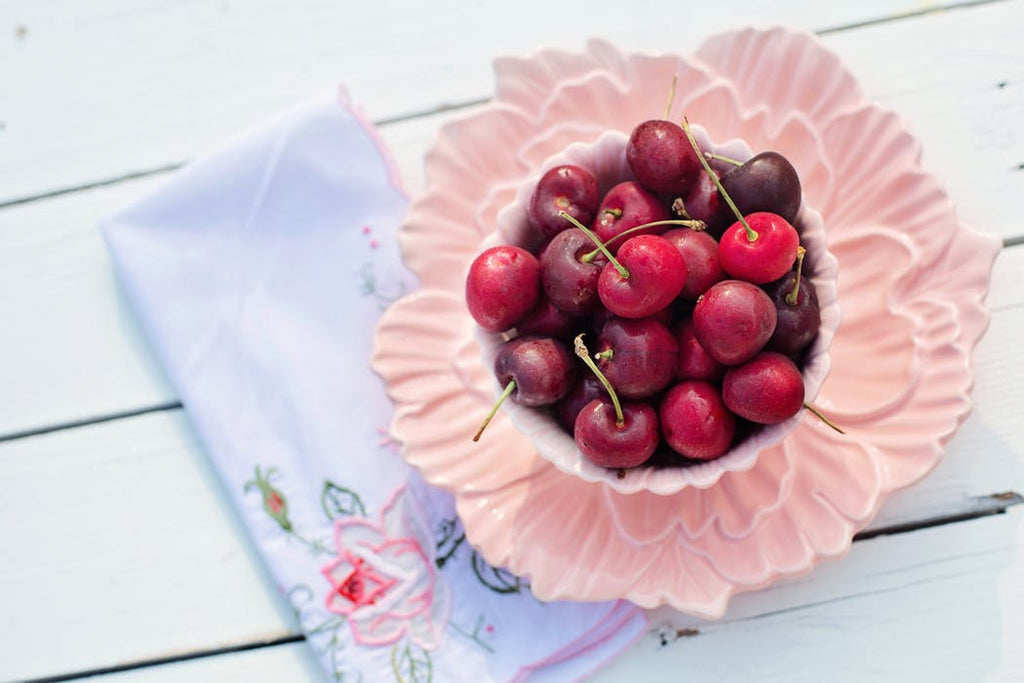 maraschino cherries in pink bowl