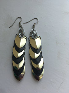 Stacked Scales Earrings Mirror Gold/Blackened Stainless, Extra Long