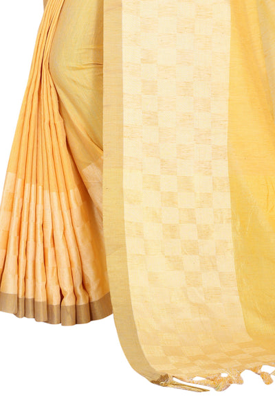 Caffeine Yellow Linen Exclusive Designer Saree
