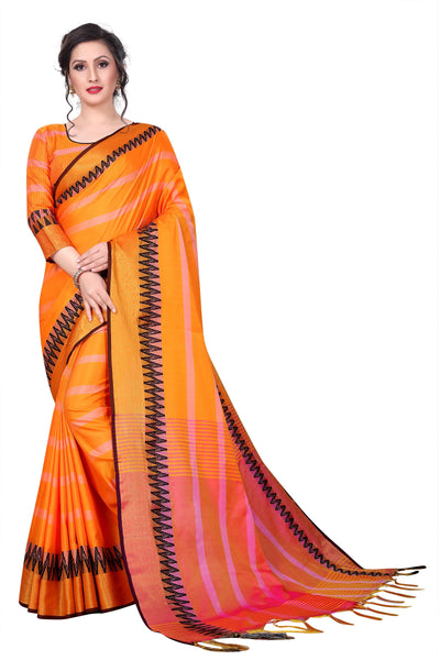 Orange Sana Silk Designer Saree