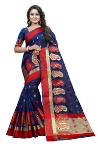 Eye Catching Navy Blue Color Cotton Silk Designer Saree